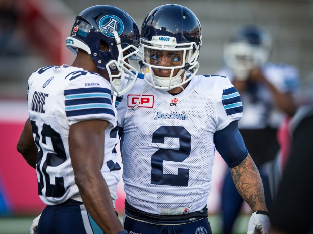 Chad Owens (2) and Andre Durie (32) of the Toronto Argonauts during the CFL pre-season game at the Montreal Percival-Molson stadium on Thursday, June 18, 2015. (PHOTO: JOHANY JUTRAS / CFL)