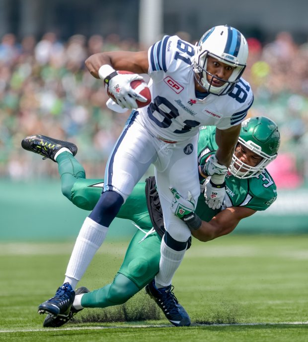 Toronto Argonauts wide receiver Tori Gurley (#81) runs the ball during first half CFL action in Regina on Sunday, July 5, 2015.  (CFL PHOTO - Derek Mortensen)