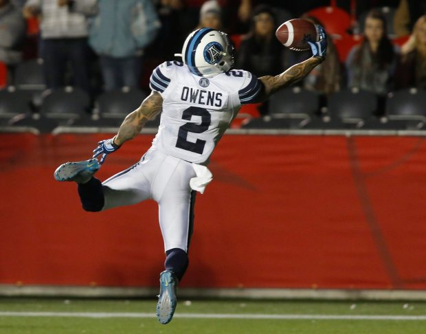 The Toronto Argonauts Chad Owens catches a touchdown pass to win the game against the Ottawa Redblacks during fourth quarter CFL action in Ottawa on Tuesday, October 6, 2015. (CFL PHOTO - Patrick Doyle) VIDEO: http://www.tsn.ca/cfl-must-see/video/cfl-must-see-flyin-hawaiian-does-it-again~721800