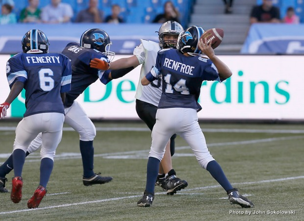 Aug 8, 2015; Toronto, Ontario, Canada; Toronto Argonauts defeat the Saskatchewan Roughriders 30-26 at Rogers Centre. Mandatory Credit: John E. Sokolowski