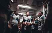 Logan Kilgore (10), Bryan Hall (4), Ricky Foley (95), Keon Raymond (2) and Devin Smith (19) celebrate in the locker room after a win against the Ottawa REDBLACKS at TD Place stadium in Ottawa, ON. Sunday, July 31, 2016. (Photo: Johany Jutras)